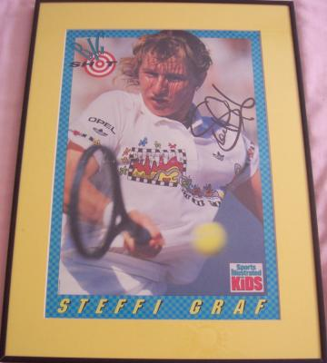 Steffi Graf autographed Sports Illustrated for Kids poster matted & framed