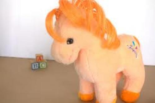 Toys; Vintage 80's Childrens Stuffed Orange animal - Kids 1980's plush toy Pony