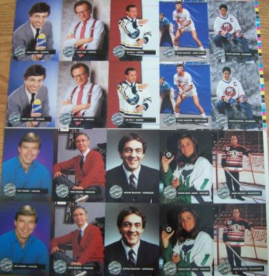1991 Pro Set Platinum hockey celebrity cards uncut sheet set