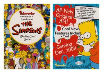 The Simpsons 2001 Comic-Con Inkworks promo card SD-2001