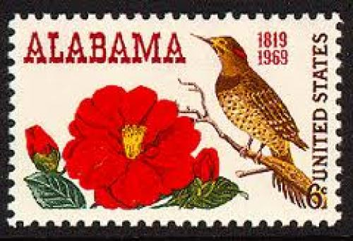 Stamps; Camellia and Yellow-shafted Flicker Bird on 1969 USA postage