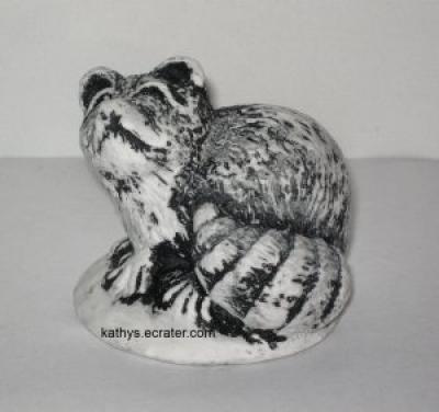 Bekka Mt. Saint Helens Ash Raccoon Black/White Animal Figurine