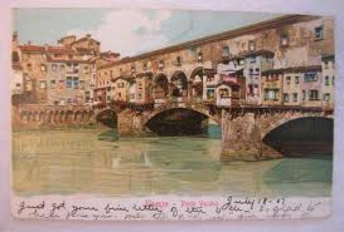Vintage postcard, Ponte Vecchio; Firenze (Florence); Italy Postmark: 1907