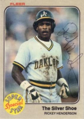 Rickey Henderson autographed Oakland A's 1983 Fleer card