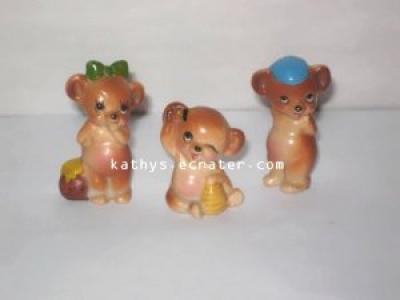 Josef Originals 3 Lot Baby Bear Family Animal Figurine
