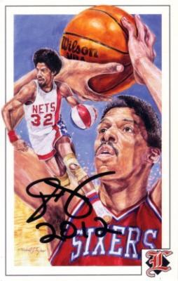Julius Erving autographed 1992 Legends magazine postcard