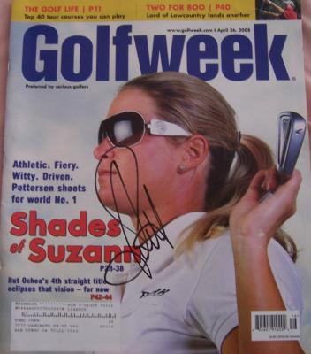 Suzann Pettersen autographed 2008 Golfweek magazine