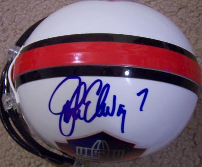 John Elway autographed Hall of Fame mini helmet