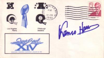 Franco Harris (Steelers) autographed Super Bowl 14 cachet envelope