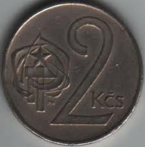 Coins; Czechoslovakia 2 Koruna 1973. front image
