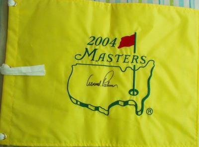 Arnold Palmer autographed 2004 Masters golf pin flag