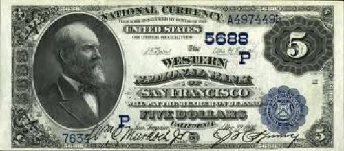 Banknotes; US $5 2nd Charter Period National Bank Note