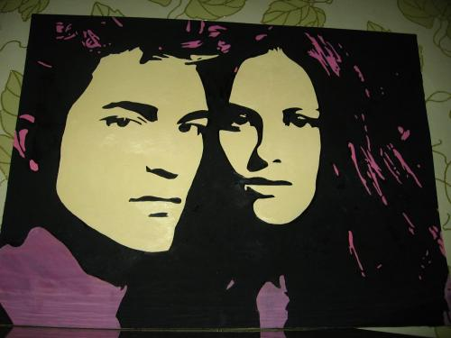 Robert Pattinson and Kristen Stewart pop art hand made painting