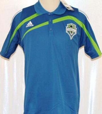 Seattle Sounders MLS Adidas blue polo shirt NEW WITH TAGS