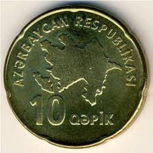 Coins;  Azerbaijan, 10 qapik, 2006 ...