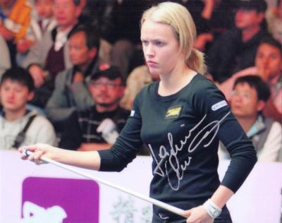 Jasmin Ouschan autographed billiards 8x10 photo