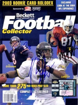 Anquan Boldin Rex Grossman Byron Leftwich autographed 2004 Beckett Football magazine cover