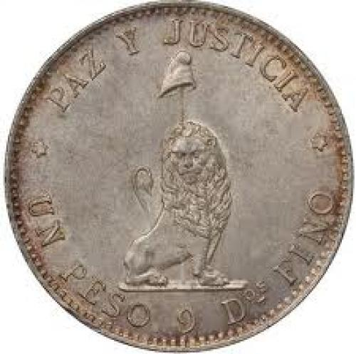 Coins;  Paraguay 1889 Silver Peso