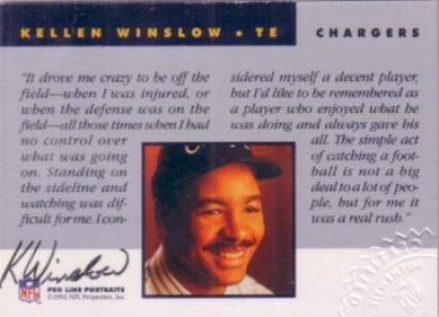 Kellen Winslow certified autograph San Diego Chargers Pro Line card