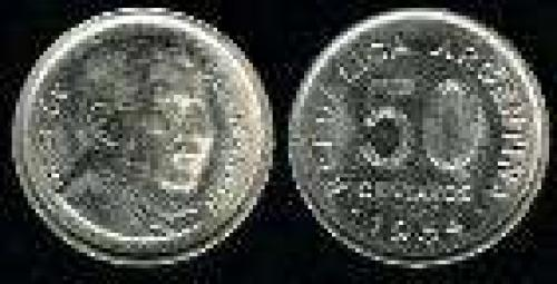 50 Centavos; Year: 1952-1956; (km 49); Nickel-Clad-Steel; S.MARTIN ANCIANO PLATEADA