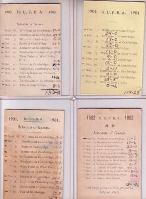 1901 1902 1903 & 1904 Harvard football schedules