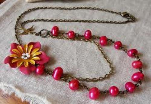 "Jewelry; ""Windflower"" handmade vintage necklace in beautiful spring/summer"
