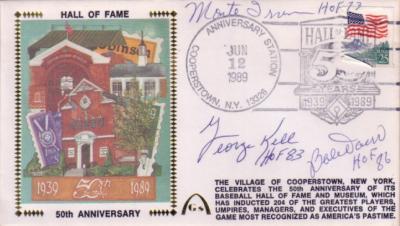 Bobby Doerr Monte Irvin George Kell autographed Baseball Hall of Fame cachet