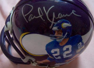 Paul Krause autographed Vikings mini helmet painted by Jolene Jessie (1/1)
