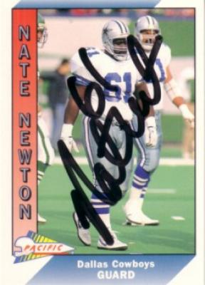 Nate Newton autographed Dallas Cowboys 1991 Pacific card