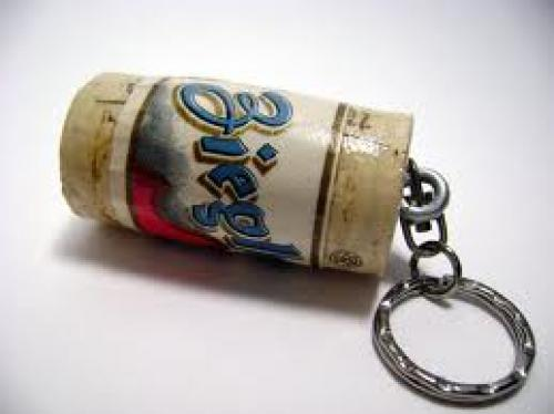 Cork Keychain with Vintage Beer Label