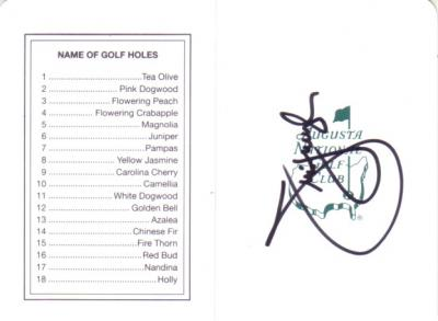 Jim Furyk autographed Augusta National Masters scorecard