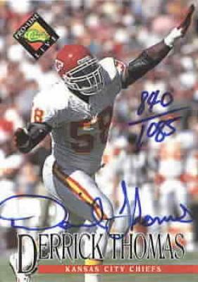 Derrick Thomas certified autograph Kansas City Chiefs 1994 Pro Line card
