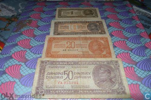 Yugoslavia 6 pcs 1/10/20/50/500 dinara-1944/46 and 2 lire issue for Istria