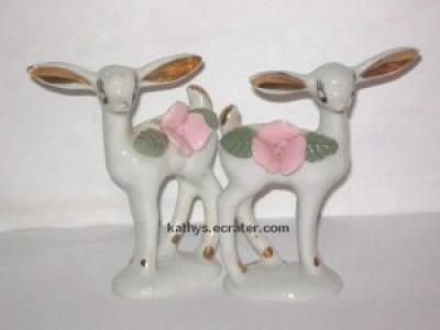 Vintage Lot 2 White w/Pink Rose Fawn Deer Animal Figurine
