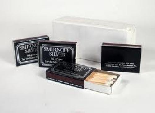 1970s Pack of 10 SMIRNOFF SILVER Match Boxes