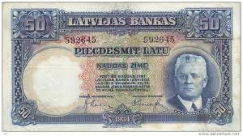 Banknotes; 20 Latu banknote President of Latvia Janis Cakste