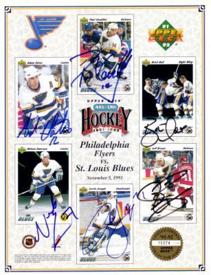 1991-92 St. Louis Blues autographed Upper Deck card sheet (Brett Hull Curtis Joseph Adam Oates)