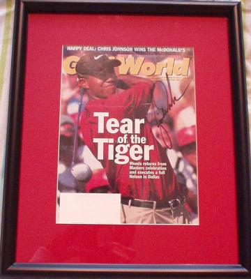 Tiger Woods autographed 1997 Golf World magazine cover framed