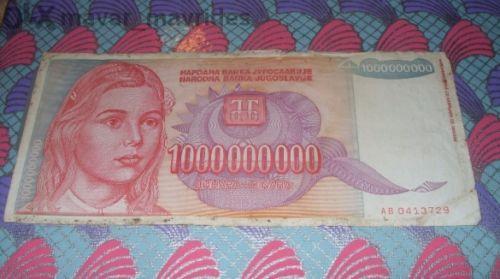 Yugoslavia 1000000000 dinara 1993/ Yugoslavia 100 000 dinara 1989 2 pcs