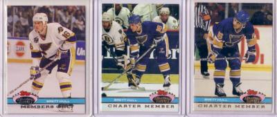 Brett Hull Blues 1991-92 Stadium Club Charter Member & Members Only set (3)
