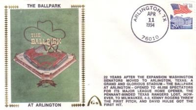 1994 Texas Rangers Ballpark at Arlington 1st Regular Season Game cachet