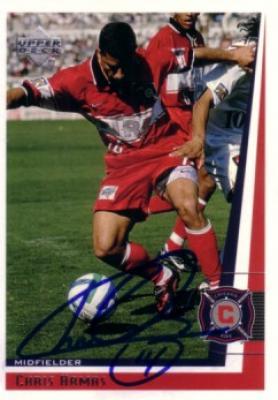 Chris Armas autographed 1999 MLS Chicago Fire card