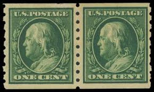 US Stamps; Year: 1910, 1¢ green coil (Scott 392), pair
