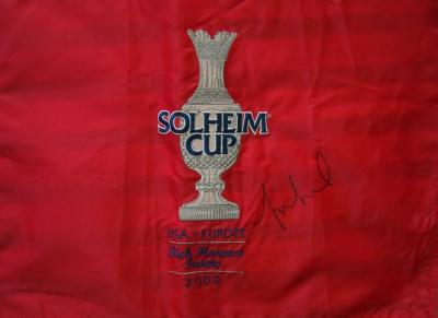 Michelle Wie autographed 2009 Solheim Cup embroidered flag