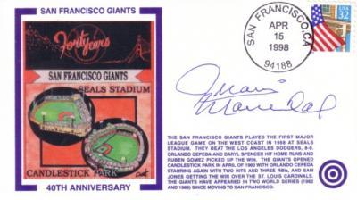 Juan Marichal autographed San Francisco Giants 40th Anniversary cachet envelope