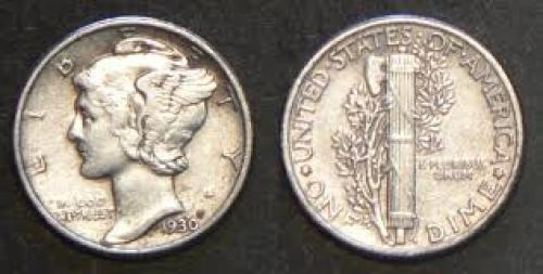Coin; US coin; 1930 Mercury Dime