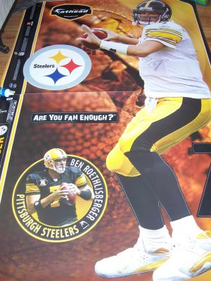 Ben Roethlisberger autographed Pittsburgh Steelers Fathead life size wall decal or poster