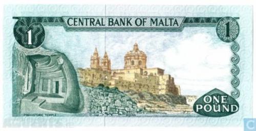 Banknote MALTA 1 Lira 1974
