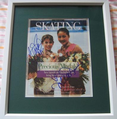 Michelle Kwan & Tara Lipinski autographed Skating magazine cover matted & framed
