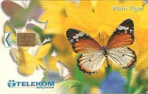 Malaysia Phone Card. Plain Tiger Butterfly.